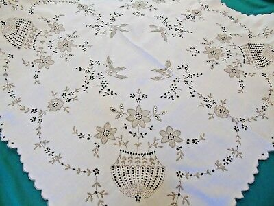 """Beautiful Hand Embroidered Madeira Tablecloth,Birds,Flowers Baskets 40""""x 40"""""""