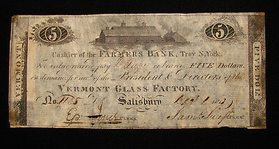 *scarce 1813 Vermont Glass Factory $5.00 Obsolete Note Farmer's Bank*
