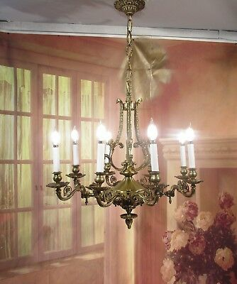 Antique Vintage Chandelier Bronze Ornate 8 Light Winged Lions Unique Medieval