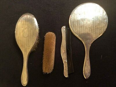 Vintage Art Deco Sterling Silver Vanity Set 4 Pcs. Set,Chester,1918
