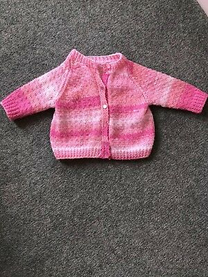 Girls 6-9 Months Hand Knitted Pink Cardigan