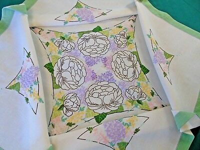 """Pretty Art Deco Hand Embroidered Tablecloth,Linen,Green Edged 32"""" x 32"""" GC"""