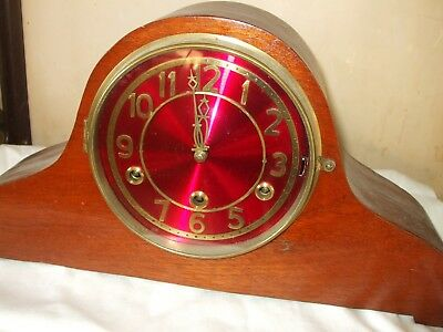Westminster Chimes Mantle Clock With Unusual Red Dial & Gold Numerals And Hands