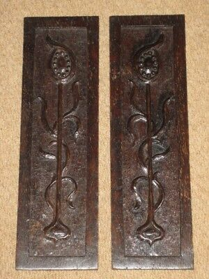 "2 Antique Carved Dark Oak Wooden Furniture Decorative Panels 16.5""x5"""