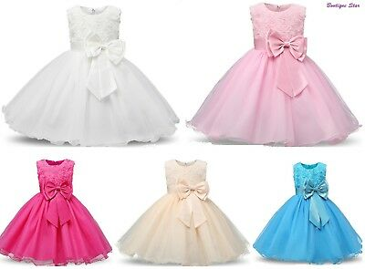 Rose flower girls christening Birthday party toddler dress more colors available