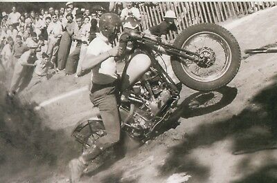 VINTAGE HILL CLIMBER/Harley Davison Motorcycle/KNUCKLEHEAD/5X7 B&W Photo Reprint