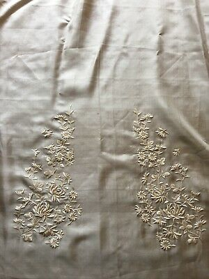 Antique Ivory Silk Long Sash Scarf with Exquisite Hand Embroidery Ex. Condition