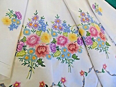 "Stunning Hand Embroidered Linen Tablecloth,Beautiful Raised Flowers 48"" x 48"""