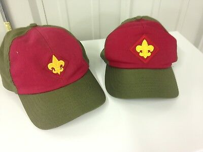 Vintage Lot Of 2 BSA Boy Scout Twill Snapback Caps Hat Olive Green Red USA M/L