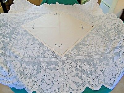 """Stunning,Hand Crochet,Embroidery and cut work Tablecloth,62"""" x 62"""".VGC"""