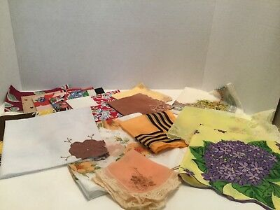 Lot of 17 Vintage Assorted Ladies Colorful Hankies