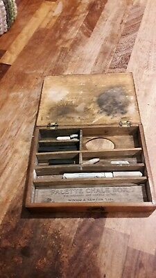 Antique Winsor and Newton palette chalk box with original label and contents.