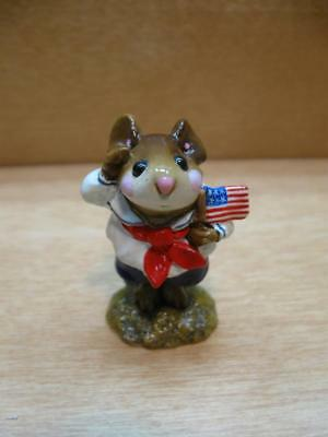 """Wee Forest Folk #M-168 """"STARS & STRIPES"""" PATRIOTIC 4TH OF JULY MOUSE 1990"""