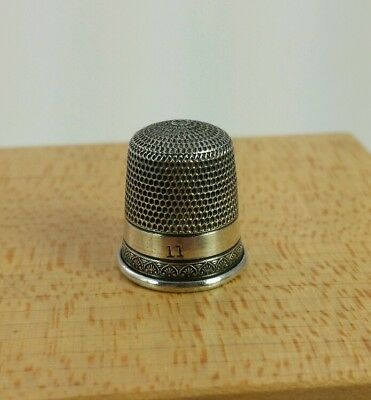 Vtg. Antique Simons Sterling Silver Thimble Size 11 Nice #2