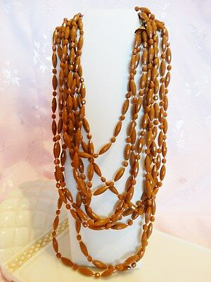 """""""amazing"""" Vintage Signed """"hong Kong"""" Brown Plastic 3 Strand Bead Necklace 54"""""""