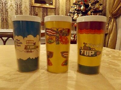 Nice Vintage set of three 7-UP advertising Peter Max Style Thermal Mugs 1970's