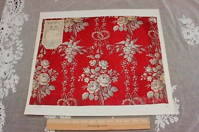 """Antique French """"Thierry-Mieg & Cie"""" Original Roses&LoveBirds Fabric Sample c1870"""