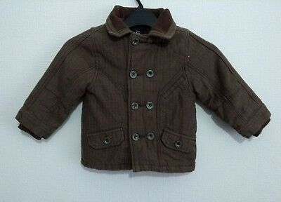 Boys F&f Smart Brown Quilted Jacket Age 18-24 Months Hardly Worn #d3