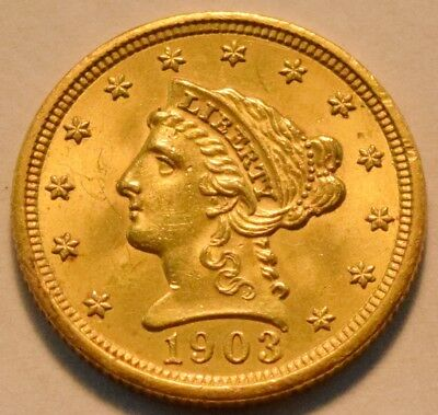 1903 $2.50 Gold Liberty Quarter Eagle, Sharp Uncirculated 2 and 1/2 Type Coin