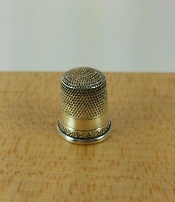 Vtg. Antique Simons Sterling Silver Thimble Size 10 Nice #4