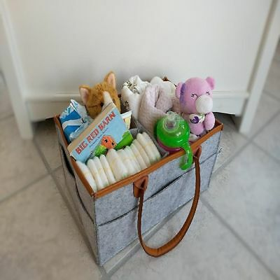 NEW Baby Diaper Caddy And Nursery Storage Organizer Basket For Changing Gray Bag
