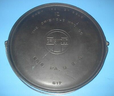 Vintage Griswold # 12 Cast Iron Griddle With Bail Erie Pa Usa 617 Clean