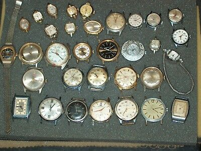 huge lot of 33 vintage watches,art deco,elgin,bulova,gruen,more,parts,repair