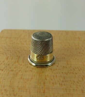 Vtg. Antique Sterling Silver Thimble Size 9 Star Mark #5