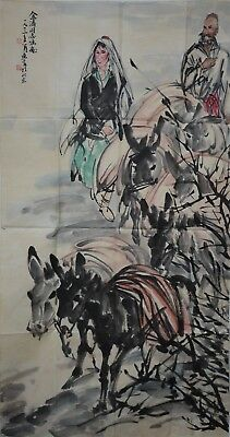 Fine Large Chinese Painting Signed Master Huang Zhou No Reserve Unframed F9017
