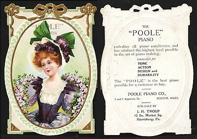Poole Piano Co. Boston, Mass. Die-cut embossed Victorian Trade Card Advertising