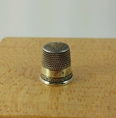 Vtg. Antique Simons Sterling Silver Thimble Size 7 Nice #6