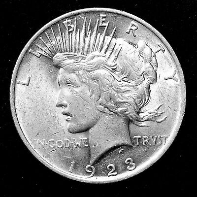 1923 P ~**ABOUT UNCIRCULATED AU**~ Silver Peace Dollar US Old Rare Coin! #196