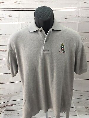 Mens Warner Bros Marvin The Martion Grey Polo Size Small