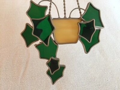 Stained Glass Sun Catcher Window Hanging Art - Green Ivy