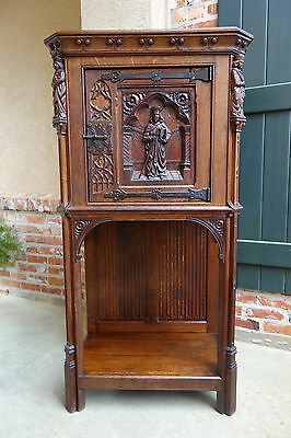 Antique French Carved Oak Gothic Vestment Cabinet Religious Catholic Sacristy