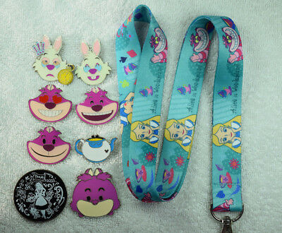 Blue Alice in Wonderland Cheshire Cat lanyard plus 8 Disney trading pin lot NEW