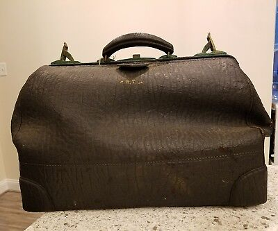 Antique Walrus Leather Gladstone Doctor's Bag  Ca. 1925