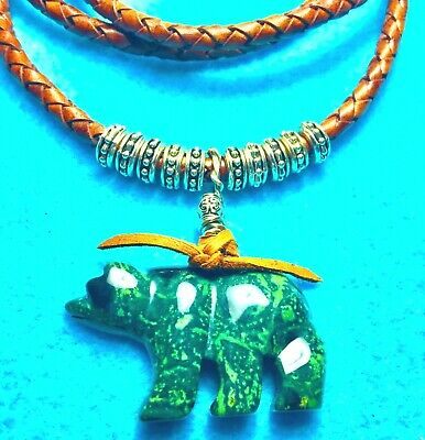 #195 BEAR Of MOSS AGATE HAND-CARVED GEM + 6mm WIDE LEATHER NECKLACE+ NATIVE MADE