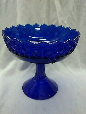 Gorgeous vintage Mosser Ohio cobalt blue glass compote