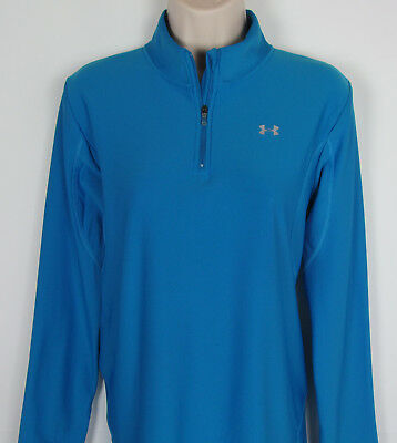 Womens Under Armour Cold Gear shirt ¼ zip base layer athletic top Blue Size L