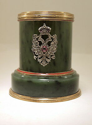 Antique Russian Faberge Nephrite Silver Enamel Old Cut Diamonds Pencil Holder