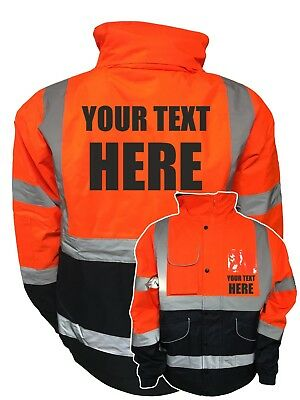 Custom Printed Hi Viz Vis Two-Tone Orange Navy Bomber Jacket Personalised Safety