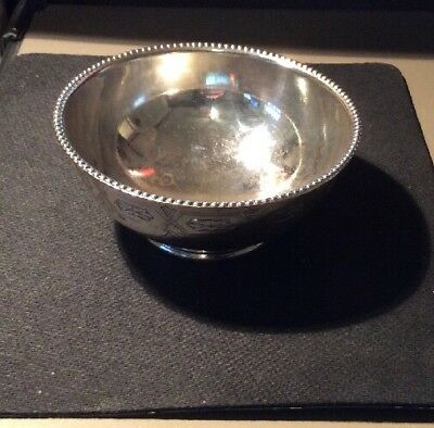 "Vintage,  Silver Plated CANDY DISH, engraved, approx. 4"" Dia 2"" high"