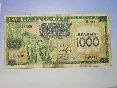 Greece 1000 Drachmai Banknote, 1939, Overprint, Circulated, JCcug 18253