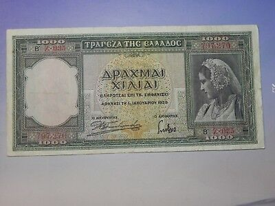 Greece 1000 Drachmai Banknote, 1939, Circulated, JCcug 18255