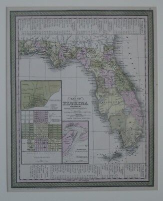 Original 1850 Map FLORIDA Seminole War Military Trails Forts Battles Railroads