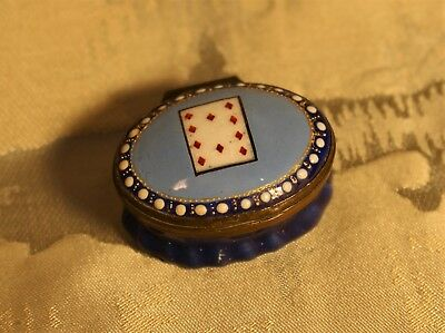 Georgian Period Bilston Enamel Patch Box with 10 of Hearts c.1790 (Ex.Mannheim)