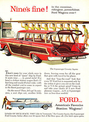 1957 Ford Wagon: Nines Fine in the Roomiest Ridingest Vintage Print Ad
