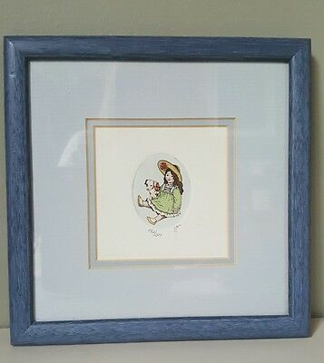 Watercolour Doll and Jack Russell Pup Limited Edition Framed Picture