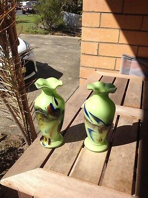 Matching pair Art glass vases - beautiful condition